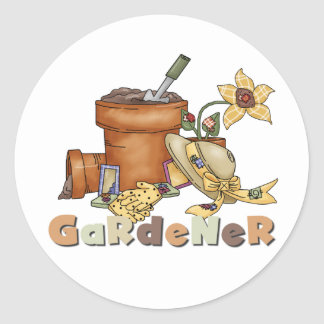 Camisetas y regalos del jardinero pegatina redonda