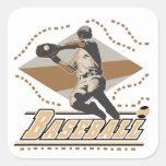 Camisetas y regalos del jugador de béisbol pegatinas cuadradases personalizadas