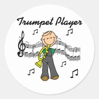 Camisetas y regalos del jugador de trompeta pegatina redonda