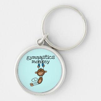 Camisetas y regalos del mono de la gimnasia llavero redondo plateado