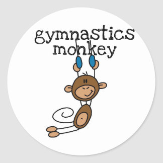 Camisetas y regalos del mono de la gimnasia pegatina redonda