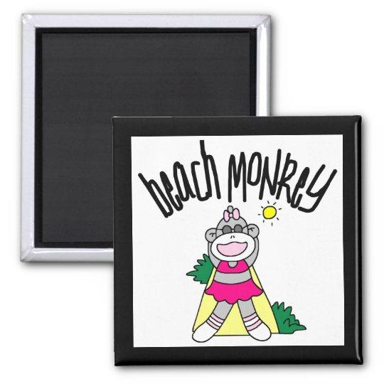 Camisetas y regalos del mono de la playa imán cuadrado