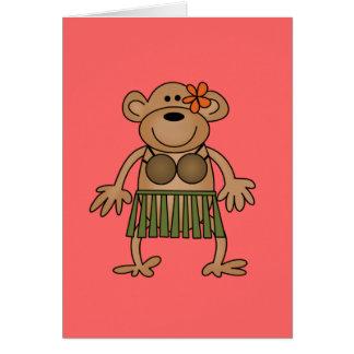 Camisetas y regalos del mono del baile de Hula Tarjeta De Felicitación