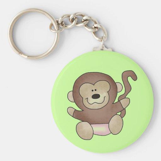 Camisetas y regalos del mono del chica llavero redondo tipo pin