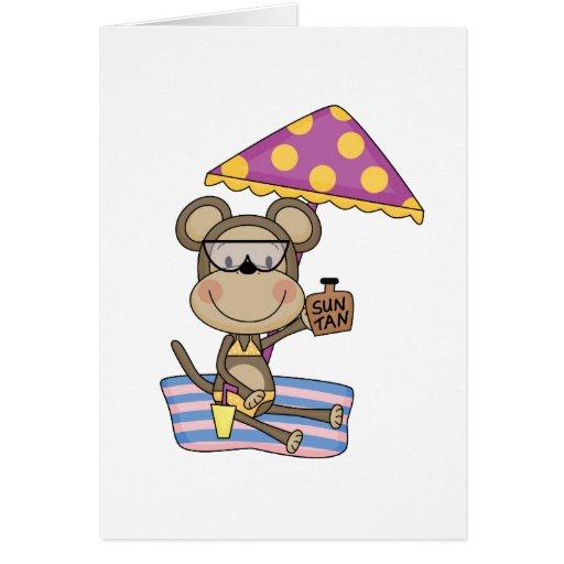 Camisetas y regalos del moreno de Sun del mono de  Tarjeta De Felicitación