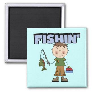 Camisetas y regalos del muchacho de Fishin Imán Cuadrado