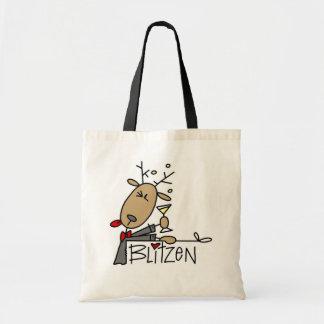 Camisetas y regalos del navidad del reno de Blitze Bolsa Tela Barata