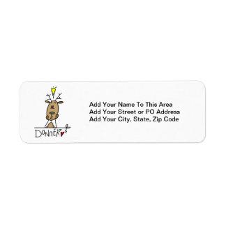 Camisetas y regalos del navidad del reno de Donner Etiquetas De Remite