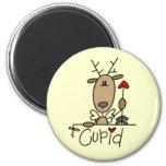 Camisetas y regalos del navidad del reno del Cupid Imán Redondo 5 Cm