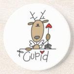 Camisetas y regalos del navidad del reno del Cupid Posavasos Para Bebidas