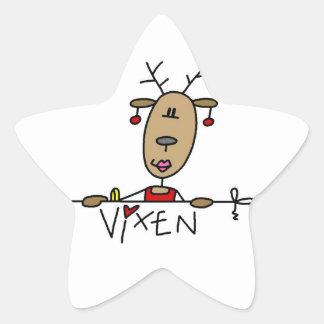 Camisetas y regalos del navidad del reno del Vixen Pegatina En Forma De Estrella