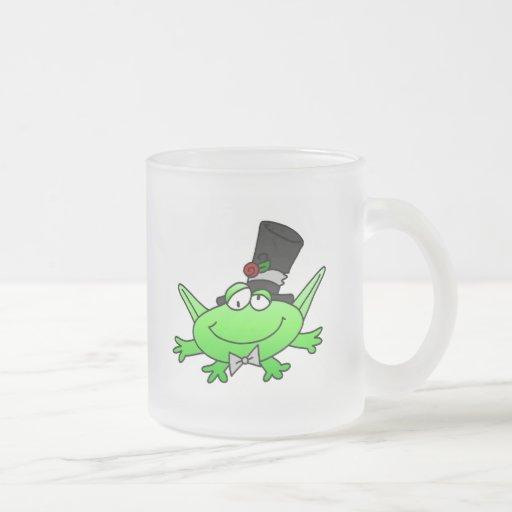 Camisetas y regalos del novio de la rana taza cristal mate