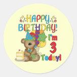 Camisetas y regalos del oso de peluche del feliz etiquetas redondas