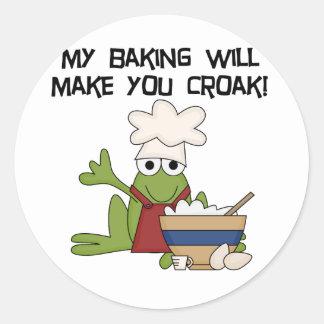 Camisetas y regalos del panadero de la rana etiquetas redondas