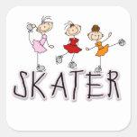 Camisetas y regalos del patinador calcomanías cuadradas