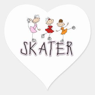 Camisetas y regalos del patinador pegatinas de corazon