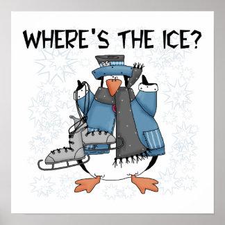 Camisetas y regalos del patinaje de hielo del ping póster
