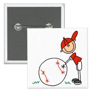 Camisetas y regalos del personalizar del béisbol d pin cuadrada 5 cm