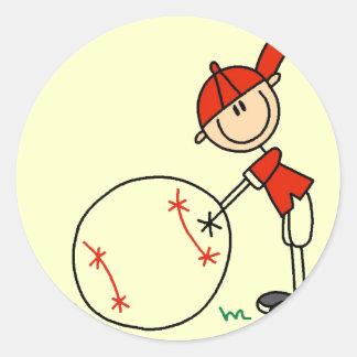 Camisetas y regalos del personalizar del béisbol pegatina redonda