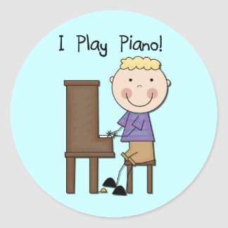 Camisetas y regalos del pianista pegatina redonda