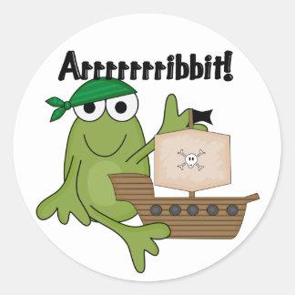 Camisetas y regalos del pirata de la rana de etiquetas redondas