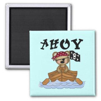 Camisetas y regalos del pirata del oso de peluche imán cuadrado