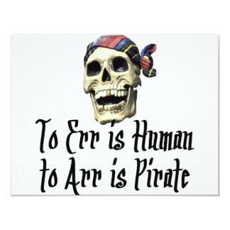 """Camisetas y regalos del pirata invitación 4.25"""" x 5.5"""""""