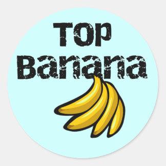 Camisetas y regalos del plátano superior pegatina redonda