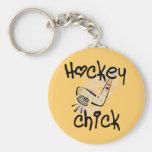 Camisetas y regalos del polluelo del hockey llaveros personalizados
