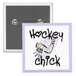 Camisetas y regalos del polluelo del hockey pin cuadrada 5 cm