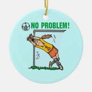 Camisetas y regalos del portero del fútbol del adorno navideño redondo de cerámica