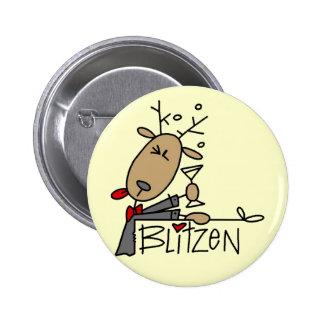 Camisetas y regalos del reno de Blitzen Pin Redondo 5 Cm