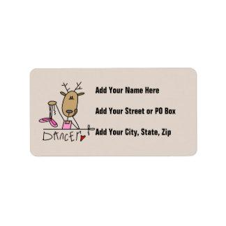 Camisetas y regalos del reno del bailarín etiquetas de dirección