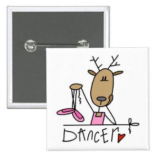 Camisetas y regalos del reno del bailarín pin cuadrado