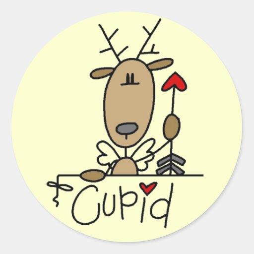 Camisetas y regalos del reno del Cupid Etiquetas Redondas