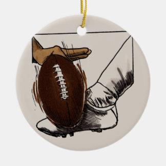 Camisetas y regalos del retroceso del fútbol adorno navideño redondo de cerámica