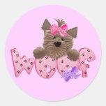 Camisetas y regalos del rosa del perro del tejido pegatina