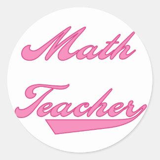 Camisetas y regalos del rosa del profesor de pegatina redonda