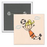 Camisetas y regalos del salto del fútbol del chica pins