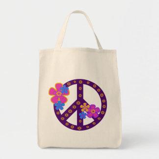 Camisetas y regalos del símbolo de paz de las flor bolsa tela para la compra