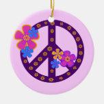 Camisetas y regalos del símbolo de paz de las flor ornamento para arbol de navidad