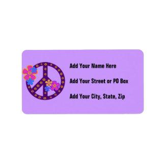 Camisetas y regalos del símbolo de paz de las flor etiquetas de dirección