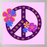 Camisetas y regalos del símbolo de paz de las flor impresiones