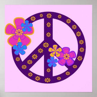 Camisetas y regalos del símbolo de paz de las flor póster