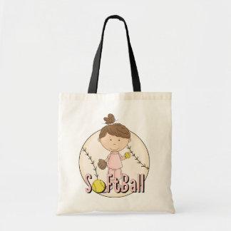 Camisetas y regalos del softball de los chicas bolsas de mano