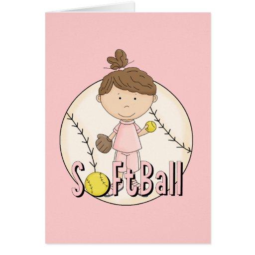Camisetas y regalos del softball de los chicas tarjeta