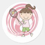 Camisetas y regalos del tenis del chica de los pegatina redonda