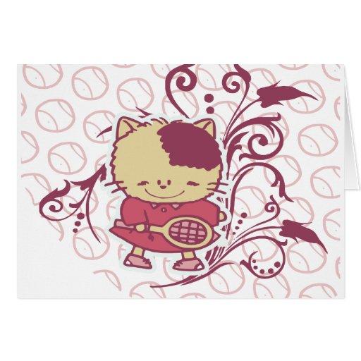 Camisetas y regalos del tenis del gatito tarjetón