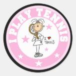 Camisetas y regalos del tenis del juego del chica pegatinas redondas