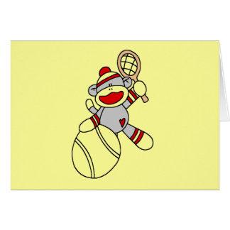 Camisetas y regalos del tenis del mono del tarjeta de felicitación